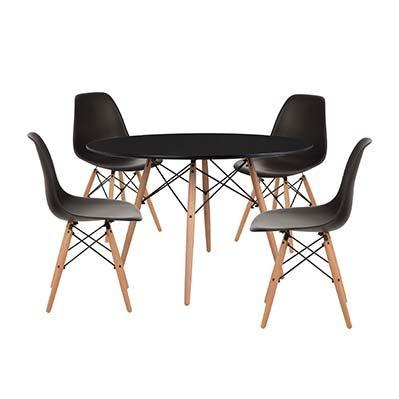Pack mesa 120 y 4 sillas negra Eames