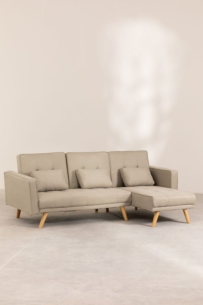 SOFÁ CAMA CHAISE LONG BEIGE