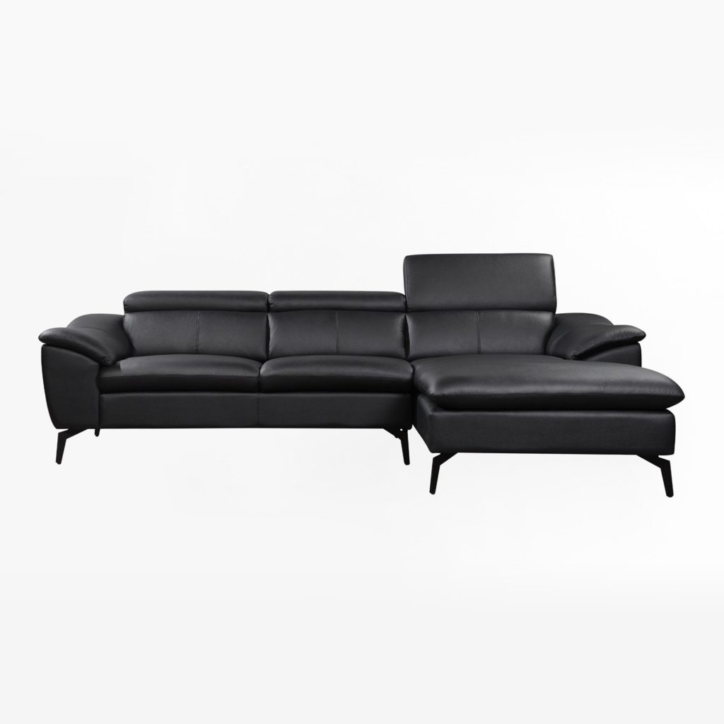SOFÁ CHAISE LONG POLIPIEL NEGRA